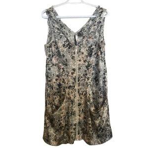 Kenzie Floral Grey V-Neck Zip Up Mini Dress